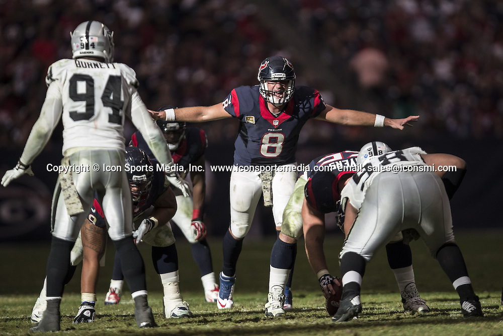 Jan. 11, 2012 - Houston, Texas, United States of America - November 17, 2103: Houston Texans quarterback Matt Schaub (8) calls a play at the line of scrimmage during the NFL game between the Oakland Raiders and the Houston Texans at Reliant Stadium in Houston, TX. The Raiders defeated the Texans 28-23