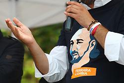 MAGLIETTA DI ALAN FABBRI<br /> MATTEO SALVINI MINISTRO DELL'INTERNO E LEADER LEGA A FERRARA PER SOSTENERE LA CANDIDATURA A SINDACO DI ALAN FABBRI