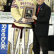 Thatcher Demko #30 of the Boston College Eagles receives The Eberly Award following The Beanpot Championship Game at TD Garden on February 10, 2014 in Boston, Massachusetts. (Photo by Elan Kawesch)
