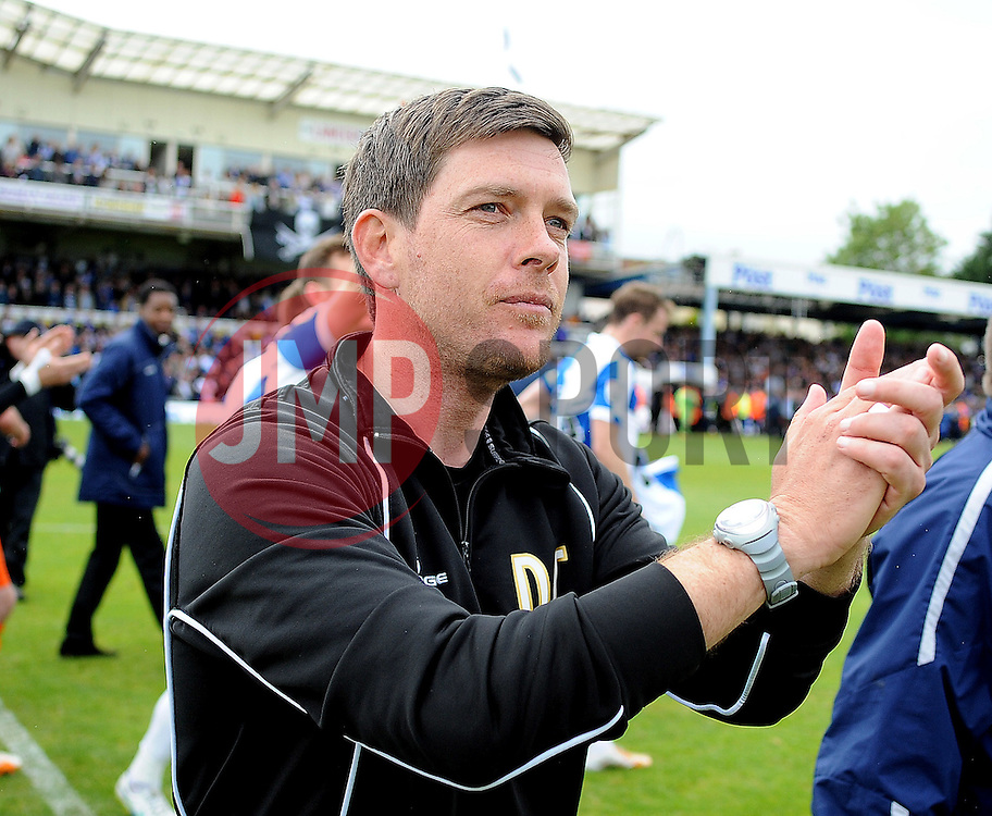 Bristol Rovers Manager, Darrell Clarke applauds the fans after the win - Photo mandatory by-line: Neil Brookman/JMP - Mobile: 07966 386802 - 03/05/2015 - SPORT - Football - Bristol - Memorial Stadium - Bristol Rovers v Forest Green Rovers - Vanarama Football Conference