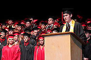 Derek Worley delivers the welcome during the 102nd commencement of West Carrollton High School at the Schuster Center in downtown Dayton, Thursday, May 24, 2012.