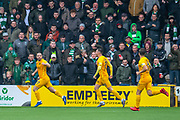 Scott Robinson (#17) of Livingston FC runs away to celebrate after scoring the opening goal during the Ladbrokes Scottish Premiership match between Livingston FC and Celtic FC at The Tony Macaroni Arena, Livingston, Scotland on 6 October 2019.