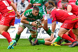 Braam Steyn of Benetton Treviso in action during todays match<br /> <br /> Photographer Craig Thomas/Replay Images<br /> <br /> Guinness PRO14 Round 3 - Scarlets v Benetton Treviso - Saturday 15th September 2018 - Parc Y Scarlets - Llanelli<br /> <br /> World Copyright © Replay Images . All rights reserved. info@replayimages.co.uk - http://replayimages.co.uk