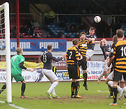 Declan Gallagher wins a header - Dundee v Alloa Athletic, SPFL Championship at Dens Park<br /> <br />  - &copy; David Young - www.davidyoungphoto.co.uk - email: davidyoungphoto@gmail.com