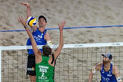 06-01-2019 NED: Dela Beach Open, Den Haag<br /> Netherlands lost the bronze medal from Russia 1-2 / Konstantin Semenov #2 RUS, Robert Meeuwsen #2, Alexander Brouwer #1