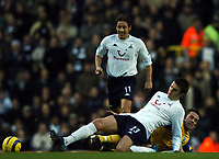 Photo: Javier Garcia/Back Page Images<br />Tottenham Hotspur v Southampton, FA Barclays Premiership, White Hart Lane 18/12/04<br />Michael Carrick deals with the midfield threat from David Prutton as Michael Brown looks on