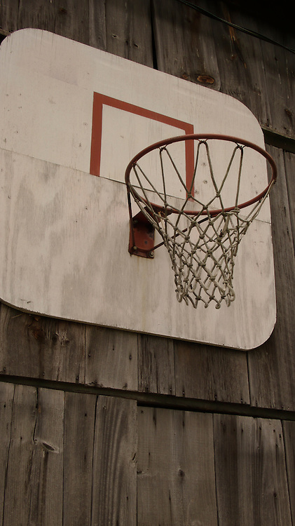 Basketball hoop on side of barn in Ontario, Canada