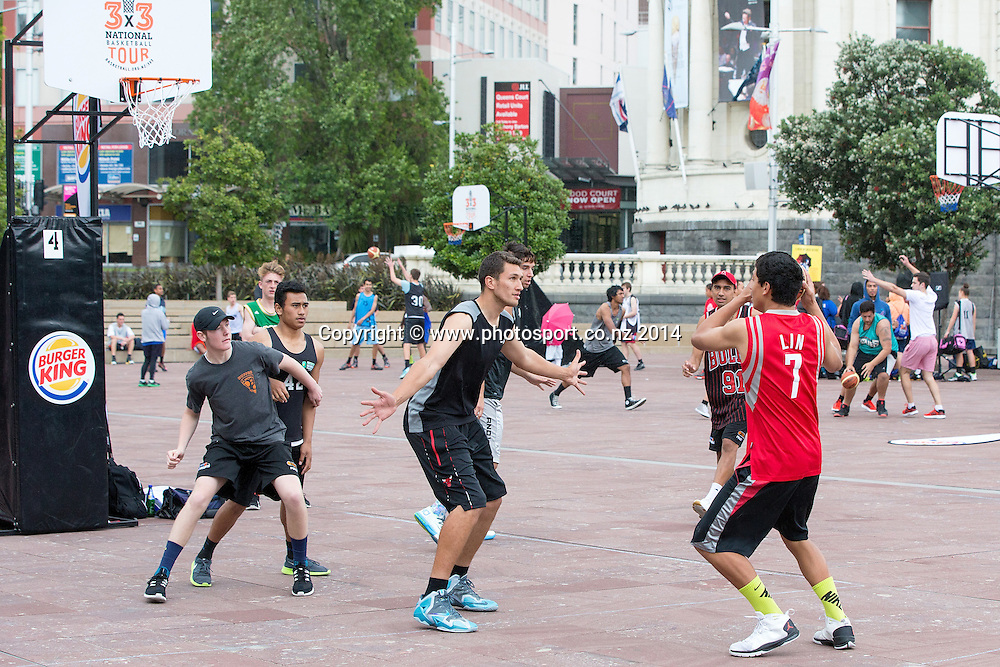 3 x 3 National Basketball Competition, Aotea Square, Auckland, New Zealand, Saturday, November 22, 2014.  Photo: David Rowland/Photosport