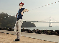 Alex Mason, slack line shot in San Francisco CA.