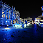 Palazzo Madama in Piazza Castello<br /> Torino in blu per la Settimana Europea della Cultura<br /> a Torino(dal 23 al 28 settembre 2014)<br /> i principali monumenti e musei della città illuminati di blu<br /> da Iren Servizi e Innovazione, la Società <br /> del Gruppo Iren che in città gestisce 99.000 punti luce, <br /> alimentati da una rete elettrica di 2.900 chilometri.