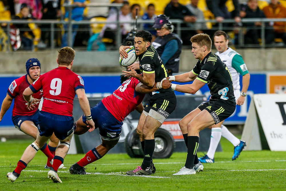 Nehe Milner-Skudder tackled during the Super rugby union game (Round 14) played between Hurricanes v Reds, on 18 May 2018, at Westpac Stadium, Wellington, New  Zealand.    Hurricanes won 38-34.