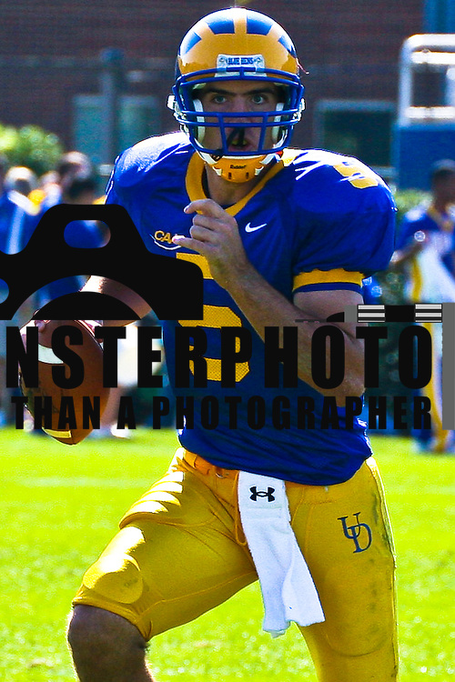 10/13/07 NEWARK, DE: QB (#5)  Joe Flacco and The No. 15 ranked Blue Hens (6-1, 4-1 CAA) rebounded from their first loss of the season last week at New Hampshire by grinding out 463 total yards, including 241 on the ground, and controlling the ball for 10 minutes in the final stanza to down the Huskies...Buy/License/Royalty Free @ monsterphotoiso.com.