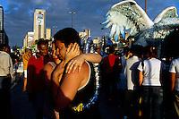 Saturday morning the Samba Schools prepare for Carnival outside of the Sambodromo