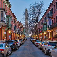 Boston fine art photography images of the historic Bunker Hill Monument, William Prescott and colonial brownstones along Monument Avenue in Charlestown, MA. Bunker Hill Monument is the site of the first major battle of the American Revolution, aka The Battle of Bunker Hill. The Bunker Hill Monument on Breed's Hill is the end of the Boston Freedom Trail. Visiting this historic site and climbing to the top of the pinnacle is an experience itself but the vistas of Boston and surrounding areas are amazing and well worth the trip up the 294 steps.<br />