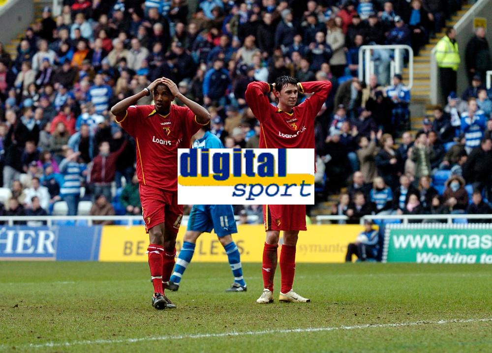 Photo: Daniel Hambury.<br />Reading v Watford. Coca Cola Championship. 11/03/2006.<br />Watford's Ashley Young (L) and Darius Henderson rue a missed chance,