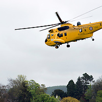 An RAF Sea King Search and Rescue helicopter takes off from Perth's North Inch.<br /> Picture by Graeme Hart.<br /> Copyright Perthshire Picture Agency<br /> Tel: 01738 623350  Mobile: 07990 594431
