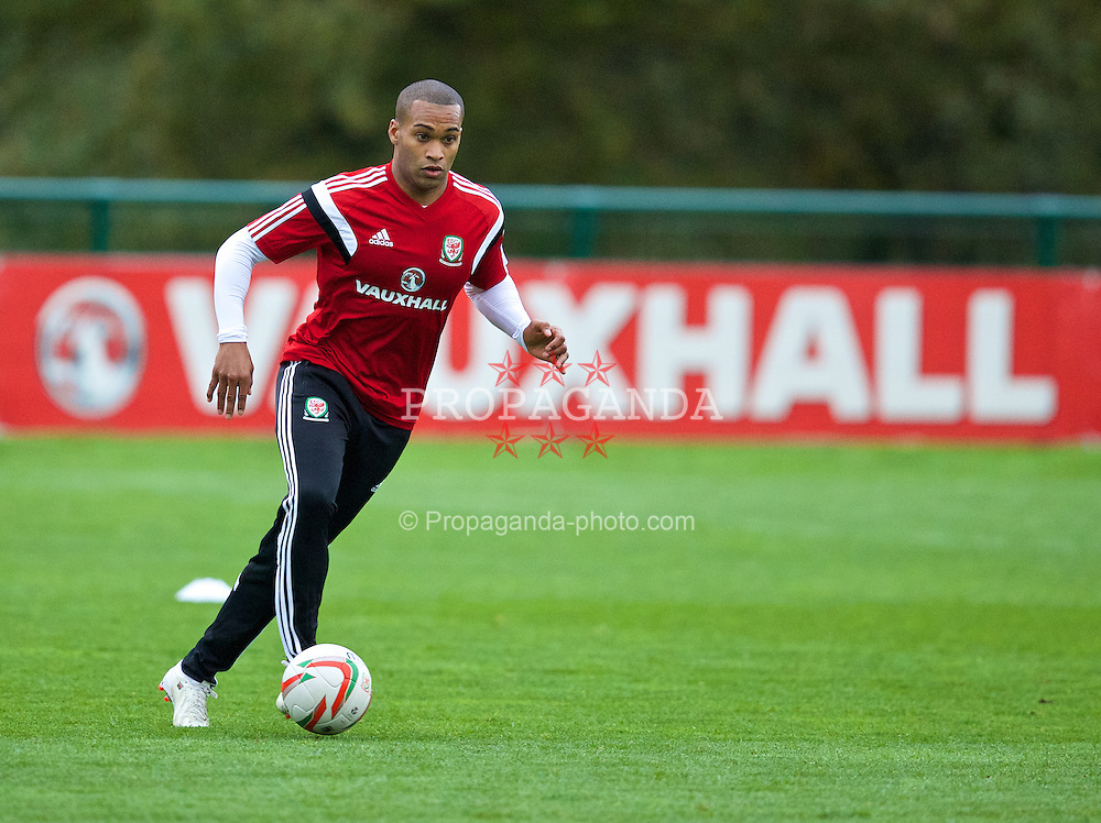 CARDIFF, WALES - Wednesday, November 13, 2013: Wales' Jermaine Easter during a training session at the Vale of Glamorgan ahead of the international friendly match against Finland. (Pic by David Rawcliffe/Propaganda)