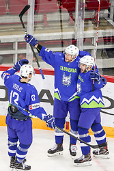 Miha Verlic of Slovenia, Jan Urbas of Slovenia and Bostjan Golicic of Slovenia celebrate during Ice Hockey match between National Teams of Kazakhstan and Slovenia in Round #4 of 2018 IIHF Ice Hockey World Championship Division I Group A, on April 27, 2018 in Arena Laszla Pappa, Budapest, Hungary. Photo by David Balogh / Sportida