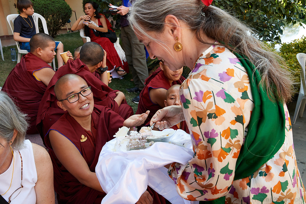 Khenpo Tsultrim Gyatso Birthday Ceremony in Tek Chok Ling Nunnery in Kathmandu with his students, Nepal, 2017