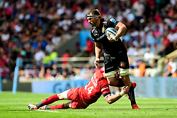 Don Armand of Exeter Chiefs is tackled by Liam Williams of Saracens - Mandatory by-line: Ryan Hiscott/JMP - 01/06/2019 - RUGBY - Twickenham Stadium - London, England - Exeter Chiefs v Saracens - Gallagher Premiership Rugby Final