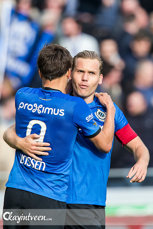 BRUGGE - Club Brugge - Zulte Waregem , Voetbal , Seizoen 2016/2017 , Jupiler Pro League Belgie Play-off 1 , Jan Breydel Stadion , 01-04-2017 , Club Brugge speler Ruud Vormer viert de 2-1 met Jelle Vossen (l)