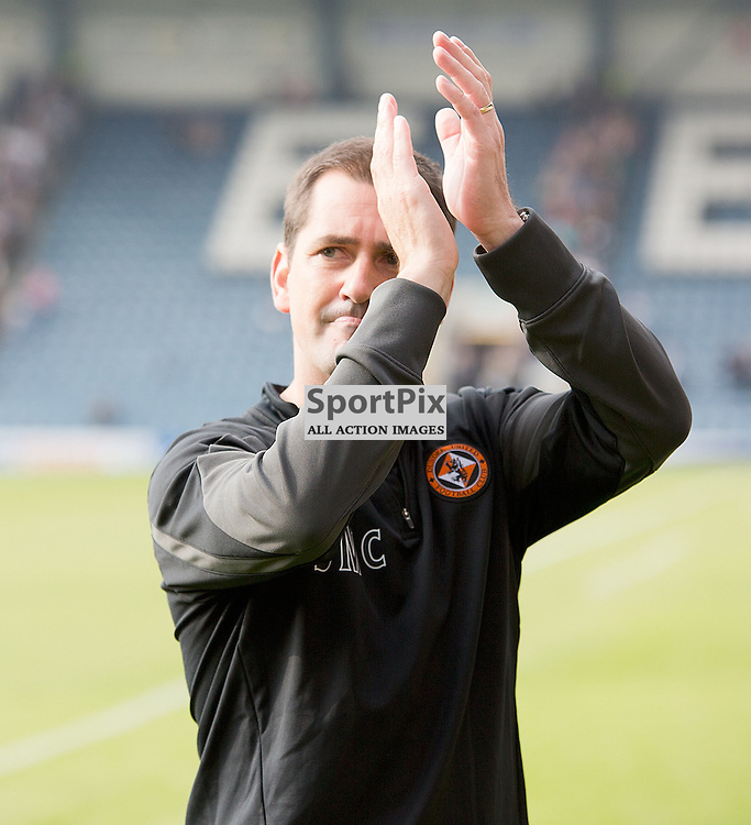 Dundee v Dundee United Scottish Premiership 21 September 2014; Dundee United's Manager, Jackie McNamara, applauds the United fans after the Dundee v Dundee United Scottish Premiership match played at Dens Park Stadium;