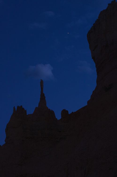 Outline of Hoodoo Against a Night Sky, Bryce Canyon National Park