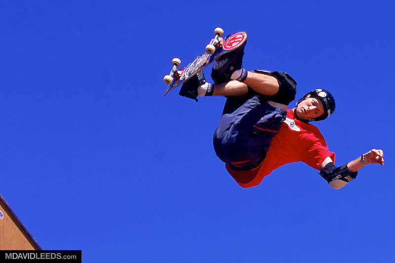 19 Aug 2000:  Tony Hawk takes to the air with a McTwist in the Skateboarding competition during the X-Games at Pier 30 and 32 in San Francisco, California...Mandatory Credit: M David Leeds / Allsport