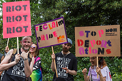 London, UK. 6 July, 2019. Activists from the Outside Project, the UK's first LGBTIQ+ crisis/homeless shelter and community centre, prepare to take part in a London Pride Solidarity March at the very rear of Pride in London - stewards tried to prevent them from joining - in solidarity with those for whom Pride in London is inaccessible and in protest against the corporatisation of Pride in London.