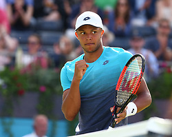 June 18, 2018 - London, England, United Kingdom - Jay Clarke (GBR) celebrates a point .during Fever-Tree Championships 1st Round match between Sam Querrey (USA) against Jay Clarke (GBR) at The Queen's Club, London, on 18 June 2018  (Credit Image: © Kieran Galvin/NurPhoto via ZUMA Press)