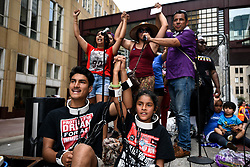 "James Gutierrez, 15, and his sister, Lilah, 8, wear chains during a demonstration against the Trump administration's immigration policies on Saturday, June 30, 2018, in downtown Minneapolis, MN, USA. ""We're here to stop them (children) from being put in cages,"" said James. On Trump's executive order to stop the separations, he says ""That just means they're all going to be put in the cage together."" Photo by Aaron Lavinsky/Minneapolis Star Tribune/TNS/ABACAPRESS.COM"