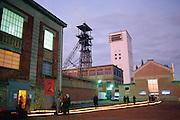 Chevalement de la Base du 11/19. Headframe or Gallows Frame, Nord department, Nord-Pas-de-Calais region,  France. <br /> Depuis sa fermeture en 1986, l'ancien carreau de la mine s'est reconverti en un p&ocirc;le d'innovation pour favoriser le d&eacute;veloppement &eacute;conomique et culturel.