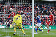 Middlesbrough midfielder Albert Adomah (27)  with a header during the Sky Bet Championship match between Middlesbrough and Ipswich Town at the Riverside Stadium, Middlesbrough, England on 23 April 2016. Photo by Simon Davies.