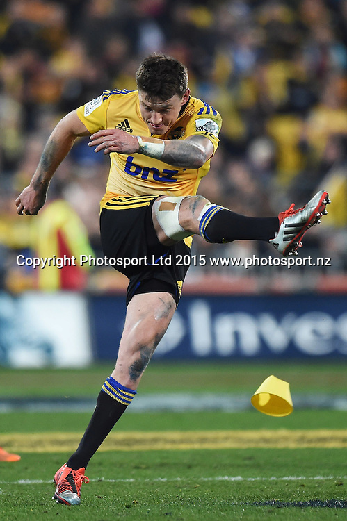 Beauden Barrett during the Super Rugby Final match between the Hurricanes and Highlanders at Westpac Stadium, Wellington, New Zealand. 4 July 2015. Copyright Photo: Andrew Cornaga / www.Photosport.nz