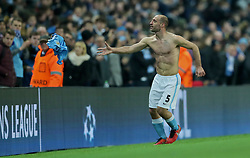 MANCHESTER, ENGLAND - Tuesday, March 15, 2016: Manchester City's Pablo Zabaleta throws his shirt to a supporter after the UEFA Champions League Round of 16 2nd Leg match against FC Dynamo Kyiv at the City of Manchester Stadium. (Pic by David Rawcliffe/Propaganda)
