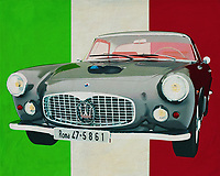 Bring Italian class into your home with this painting by the Maserati 3500 GT from 1960. Maserati is pure Italy and therefore depicted against the Italian colors. The Maserati 3500 GT drives as it were to you and brings a unique class painting to your interior. <br />