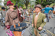 A quick sharpener before the off - The Tweed Run, a very British public bicycle ride through London's streets, with a prerequisite that participants are dressed in their best tweed cycling attire. Now in it's 8th year the ride follows a circular route from Clerkenwell via the Albert Memorial, Buckinham Palace and Westminster.