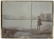 early industrial water landscape view near Paris early 1900s