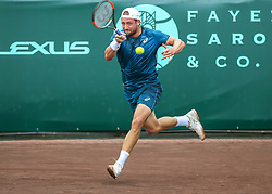 April 13, 2018 - Houston, TX, U.S. - HOUSTON, TX - APRIL 13:  Tennys Sandgren of the United States hits the return in the match against Guido Pella of Argentina during the Quarterfinal round of the Men's Clay Court Championship on April 13, 2018 at River Oaks Country Club in Houston, Texas.  (Photo by Leslie Plaza Johnson/Icon Sportswire) (Credit Image: © Leslie Plaza Johnson/Icon SMI via ZUMA Press)