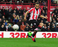Football - 2019 / 2020 Emirates FA Cup - Fourth Round: Brentford vs. Leicester City<br /> <br /> Bryan Mbeumo of Brentford has his late goal disallowed  for offside , at Griffin Park.<br /> <br /> COLORSPORT/ANDY COWIE