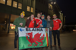 VIENNA, AUSTRIA - Thursday, October 6, 2016:Wales supporters react outside the stadium before Wales take on Austria during a 2018 FIFA World Cup Qualifying Group D match at the Ernst-Happel-Stadion. (Pic by Peter Powell/Propaganda)