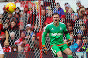 Nottingham Forest goalkeeper Dorus de Vries keeps his eyes on the ball during the Sky Bet Championship match between Nottingham Forest and Huddersfield Town at the City Ground, Nottingham, England on 13 February 2016. Photo by Aaron  Lupton.