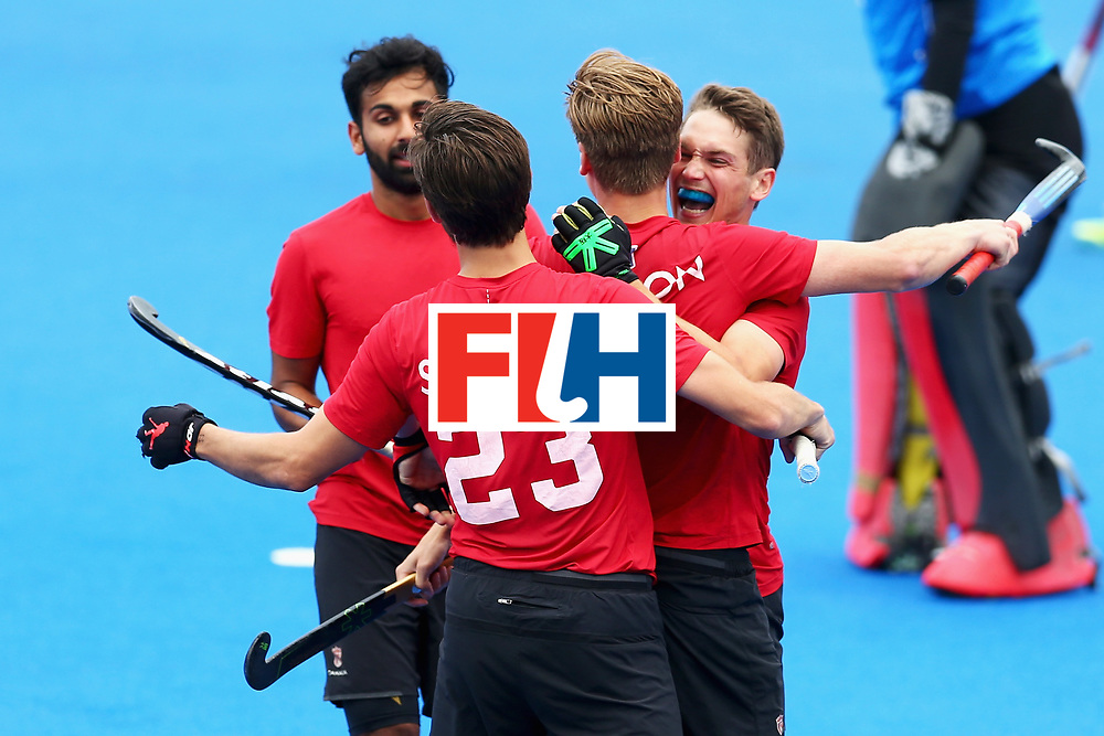 LONDON, ENGLAND - JUNE 24: Foris Van Son of Canada celebrates scoring his sides fourth goal with his Canada team mates during the 5th-8th place match between Canada and China on day eight of the Hero Hockey World League Semi-Final at Lee Valley Hockey and Tennis Centre on June 24, 2017 in London, England.  (Photo by Steve Bardens/Getty Images)
