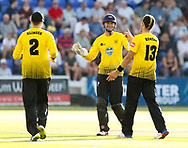 Gloucestershire players celebrate the wicket of Glamorgan's Aneurin Donald<br /> <br /> Photographer Simon King/Replay Images<br /> <br /> Vitality Blast T20 - Round 8 - Glamorgan v Gloucestershire - Friday 3rd August 2018 - Sophia Gardens - Cardiff<br /> <br /> World Copyright &copy; Replay Images . All rights reserved. info@replayimages.co.uk - http://replayimages.co.uk