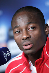 14.09.2010, estadio Santiago Bernabeu, Madrid, ESP, UEFA Champions League, Ajax Amsterdam, Trainning, im Bild Ajax Amsterdam's Eyong Enoh during press conference. EXPA Pictures © 2010, PhotoCredit: EXPA/ Alterphotos/ Alvaro Hernandez +++++ ATTENTION - OUT OF SPAIN / ESP +++++
