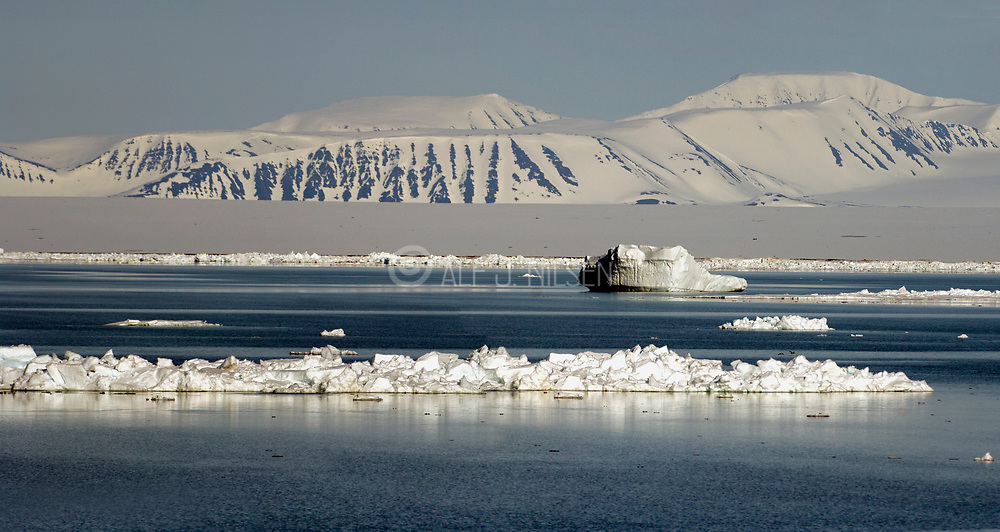 Arctic landscape from 79.5 degrees Nortth at Spitsbergen, Svalbard.