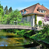 Footbridge Over Oosbach River in Baden-Baden, Germany<br />
