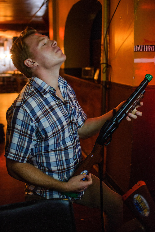 Photo by Matt Roth<br /> <br /> Diego Klattenhoff from Homeland and Pacific Rim plays Big Buck HD shotgun as if it were a guitar at Bar Nine in Hells Kitchen in New York, New York on Tuesday, July 23, 2013.