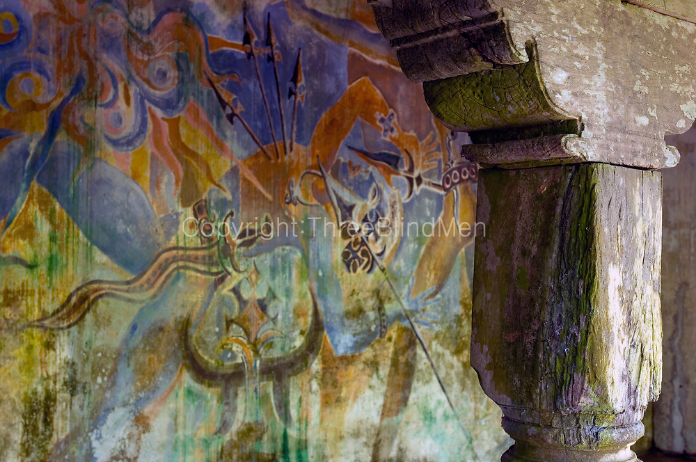 Detail of mural by Laki Senanayake. <br /> Wall of loggia by the Bridge of Sighs.<br /> <br /> LUNUGANGA the country home and &amp; garden of Sri Lanka's most celebrated architect, Geoffrey Bawa...Mural by Laki Senanayake...&quot;Lunuganga, Bentota, 1948-1997..The garden at Lunuganga sits astride two low hills on a promontory which juts out into a brackish lagoon lying off the estuary of the Bentota River.&quot; from geoffreybawa.com