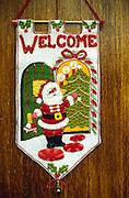 Christmas welcome banner on door